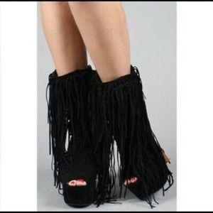 Jeffrey Campbell Wild Child Fringe Ankle Boots 8.5